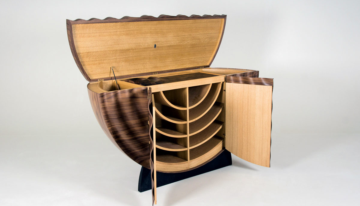 Luxurious walnut orbis bar by edward johnson bespoke for Bespoke furniture