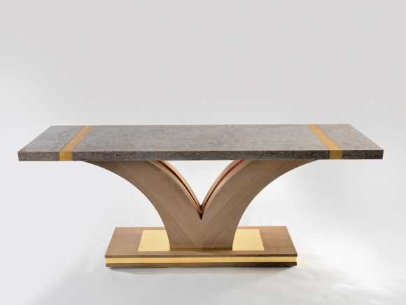 Rupert McBain Furniture Creates Bespoke Hall Table Made From Oak Gold U0026 Stone
